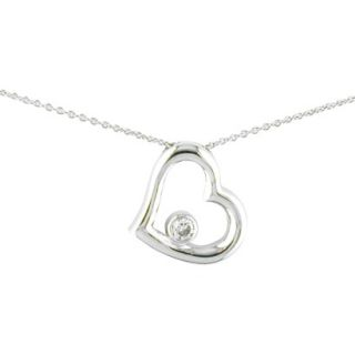 Silver Plated Cz Heart Necklace   18
