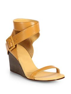 MM6 Maison Martin Margiela Leather Ankle Wrap Wedge Sandals   Brown