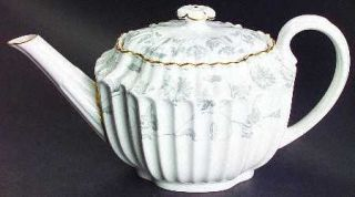 Spode Colonel Gray (Gold) Teapot & Lid, Fine China Dinnerware   Gray Flowers,Sca