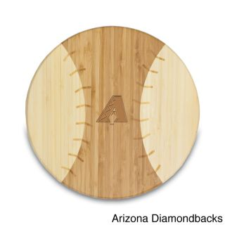 Mlb National League Homerun Bamboo Round Cutting Board (12 inches in diameter x 0.75 inch thick Materials Bamboo Materials Surface wash only with a damp cloth; to prevent wood from warping and cracking, do not submerge in waterMeasurements are approxima