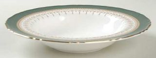 Royal Worcester Regency Green & Brown (Newer) Rim Soup Bowl, Fine China Dinnerwa