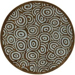 Hand tufted Contemporary Blue/brown Circles Celestial New Zealand Wool Abstract Rug (8 Round)
