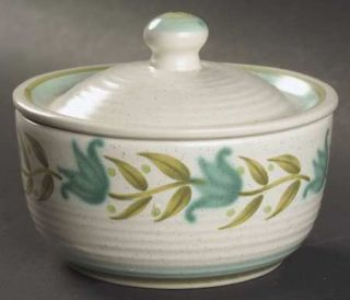 Franciscan Tulip Time Sugar Bowl & Lid, Fine China Dinnerware   Blue/Green Tulip