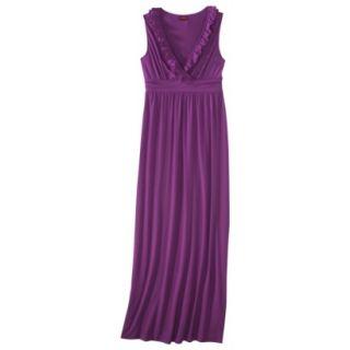 Merona Womens V Neck Ruffle Maxi Dress   Hipster Violet   XS