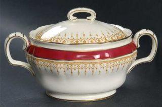Royal Doulton Duke Of York Maroon Sugar Bowl & Lid, Fine China Dinnerware   Maro