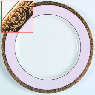 Mary Kay Mak1 Dinner Plate, Fine China Dinnerware   Gold Encrusted Band,Pink Rim