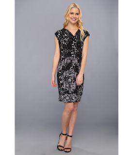 Donna Morgan Cowl Neck Asymmetrical Draped Body Dress Womens Dress (Black)