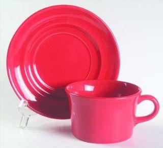 Metlox   Poppytrail   Vernon Colorstax Bright Red Flat Cup & Saucer Set, Fine Ch