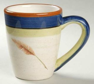 Bob Timberlake Quill Mug, Fine China Dinnerware   Rust,Blue&Green Bands,Feather