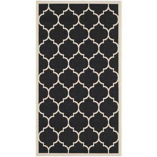 Safavieh Geometric Indoor/ Outdoor Courtyard Black/ Beige Rug (27 X 5)
