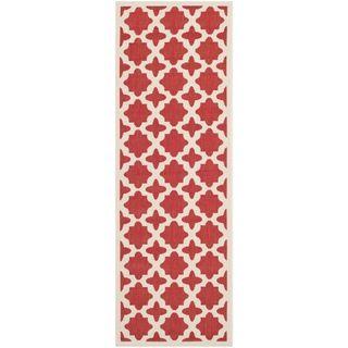 Safavieh Contemporary Indoor/ Outdoor Courtyard Red/ Bone Rug (23 X 67)