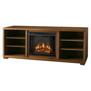TV/Media stand fireplace: Marco TV Stand with Electric Fireplace   Brown