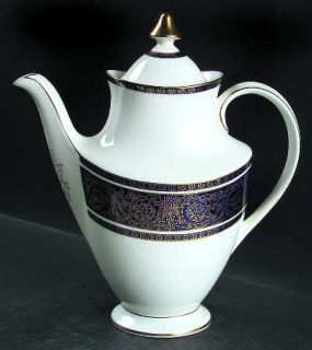 Royal Doulton Imperial Blue Coffee Pot & Lid, Fine China Dinnerware   Gold Filig