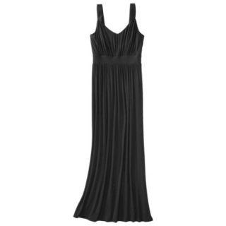 Merona Womens Knit V Neck Ruched Waist Maxi Dress   Black   M