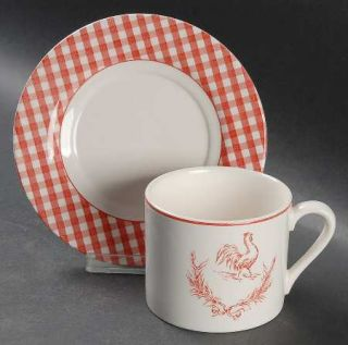 Stoney Hill Rooster Gingham Red Flat Cup & Saucer Set, Fine China Dinnerware   R