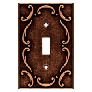 Brainerd French Lace Single Switch Wall Plate   Sponged Copper