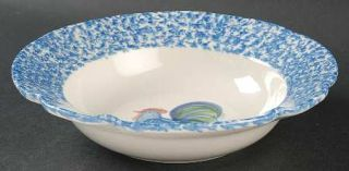 Los Angeles Blue Stipple W/Rooster Rim Soup Bowl, Fine China Dinnerware   Blue S