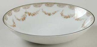 Noritake Denise Coupe Soup Bowl, Fine China Dinnerware   Gray Scrolls, Brown Flo