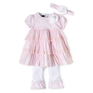 Wendy Bellissimo 3 pc. Ruffled Pant Set   Girls newborn 9m, Pink, Girls