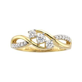 CT. T.W. Diamond 3 Stone Promise Ring, Yellow/Gold, Womens