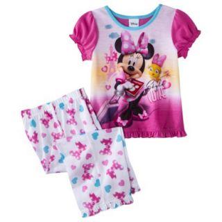 Disney Minnie Mouse Toddler Girls 2 Piece Short Sleeve Pajama Set   Pink 4T