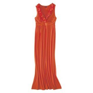 Merona Womens V Neck Ruffle Maxi Dress   Luau Orange   L