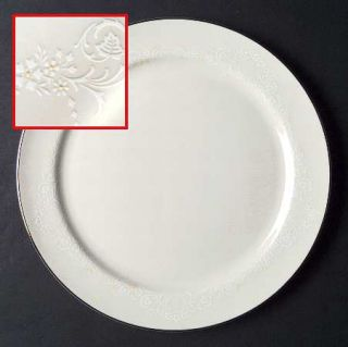 Pickard Poetry Dinner Plate, Fine China Dinnerware   White Flowers, Leaves, Yell