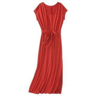 Merona Womens Knit V Neck T Shirt Maxi Dress   Hot Orange   XL