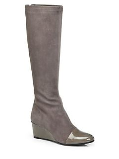 Aquatalia by Marvin K Jane Suede & Patent Leather Wedge Boots   Taupe