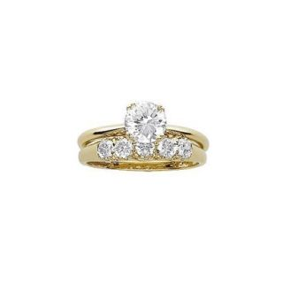 Gold Over Sterling Silver Cubic Zirconia 2 Pc. Wedding Ring Set   6