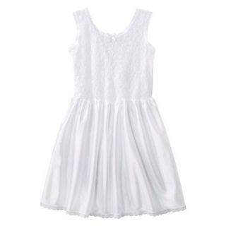 Girls Lace Nylon Full Slip   White 12
