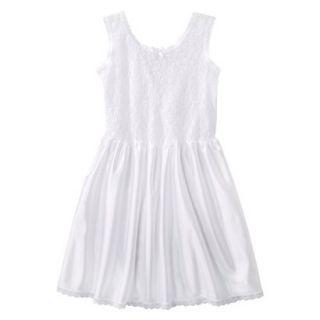Girls Lace Nylon Full Slip   White 12