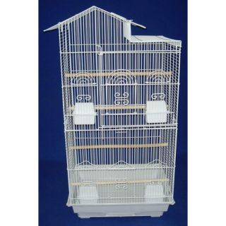 YML Villa Top Small  Bird Cage with 4 Feeder Doors 6894 Color White