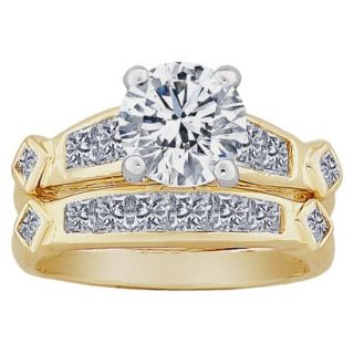 2 Piece Round and Square CZ Wedding Ring Set   Two Tone
