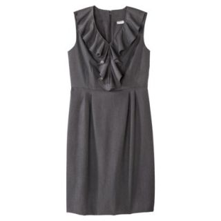 Merona Womens Twill Ruffle Neck Dress   Heather Gray   10