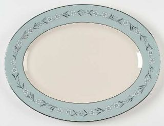 Franciscan Del Rio 15 Oval Serving Platter, Fine China Dinnerware   White/Pink