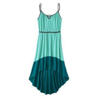 Merona Womens Knit Colorblock High Low Hem Dress   Sunglow Green/Turquoise   XS