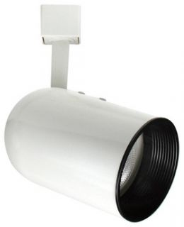 Elco Lighting ET638W Track Light, Line Voltage PAR 20 Round Back Cylinder Track Fixture White w/ Black Baffle