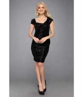 Jessica Simpson Cap Sleeve Aysmmetrical Drape Ruched Dress Womens Dress (Black)
