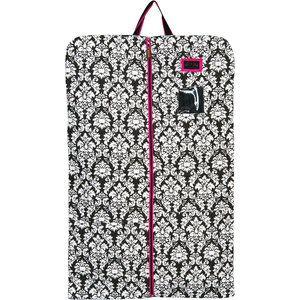 Equine Couture Damask Garment Bag Black/pink Trim One Size