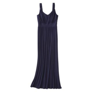 Merona Womens Knit V Neck Ruched Waist Maxi Dress   Xavier Navy   M