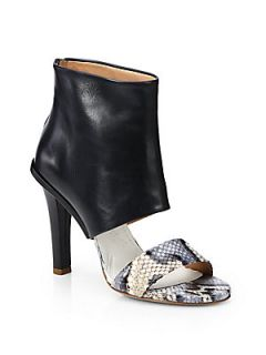 Maison Martin Margiela Python & Leather Sandal Ankle Boots   Black