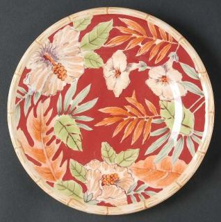 Home Trends Hibiscus Salad Plate, Fine China Dinnerware   Bamboo Edge,Ferns,Flor