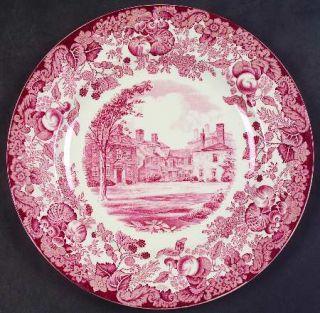 Wedgwood Harvard University Pink (No Gold Trim) Luncheon Plate, Fine China Dinne