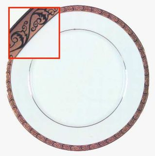 Home Accents Chamberlain Dinner Plate, Fine China Dinnerware   Etched Scrolls On