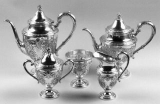 Frank Whiting Talisman Rose (Str,1948,Handchased,Hlwr) 5 Piece Tea Set with Wast