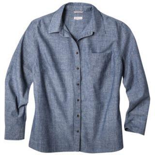 Merona Womens Plus Size Long Sleeve Chambray Shirt   Blue 2