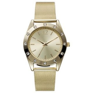 Womens Mossimo Supply Co. Analog Dress Watch with Stone Accents   Gold