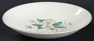 Edwin Knowles Sharon Coupe Soup Bowl, Fine China Dinnerware   White Flowers, Gre