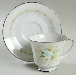 Noritake Poetry Footed Cup & Saucer Set, Fine China Dinnerware   Floral Ring, Fl